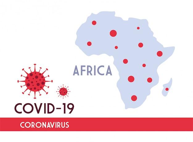 Afrika kaart met de voortplanting van de covid 19 Premium Vector