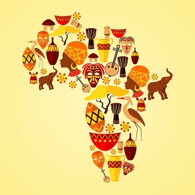 Afrika-samenstelling met elementen Premium Vector