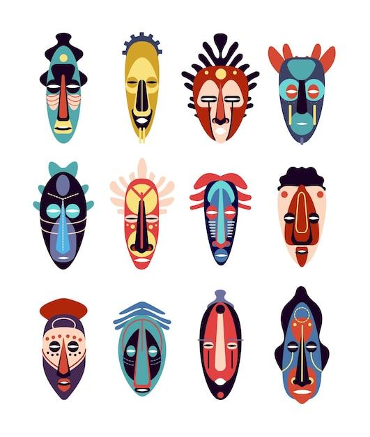 Afrikaans masker. kleurrijke etnische tribale rituele maskers van verschillende vormen Premium Vector