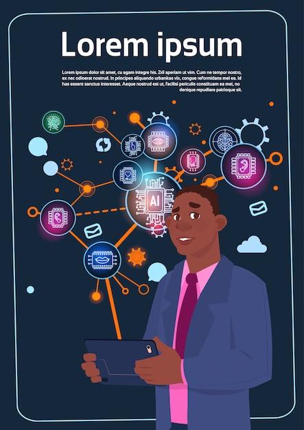 Afrikaanse amerikaanse zakenman holding presentation stand over digital screen met grafieken en grafiek Premium Vector