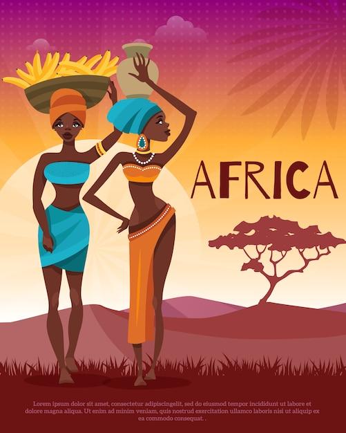 Afrikaanse cultuur tribal tradities flat poster Gratis Vector