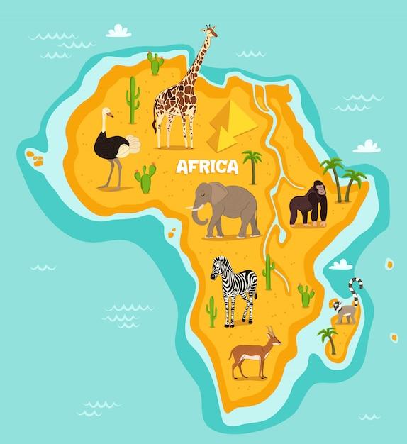 Afrikaanse dieren dieren in het wild vector illustratie Premium Vector