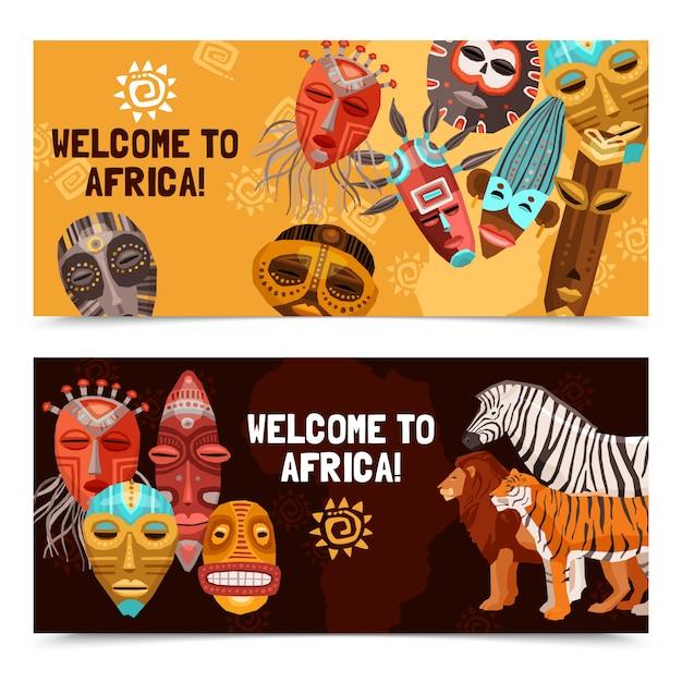 Afrikaanse etnische tribale maskers banners Gratis Vector