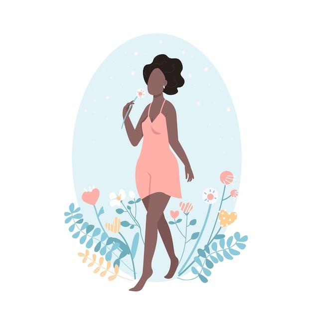 Afrikaanse gelukkig meisje met bloem in vlakke stijl Premium Vector