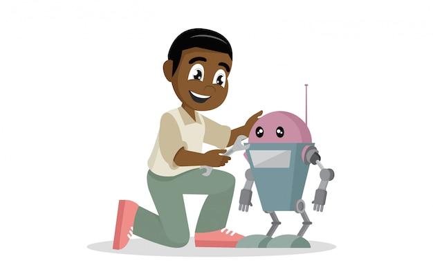 Afrikaanse jongen die stuk speelgoed robot herstelt. Premium Vector