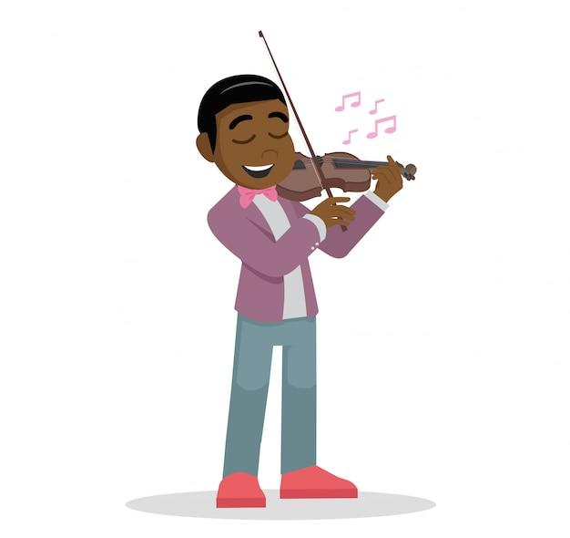 Afrikaanse jongen speelt de viool. Premium Vector