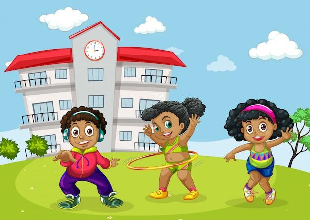Afrikaanse kinderen op schoolplein Premium Vector