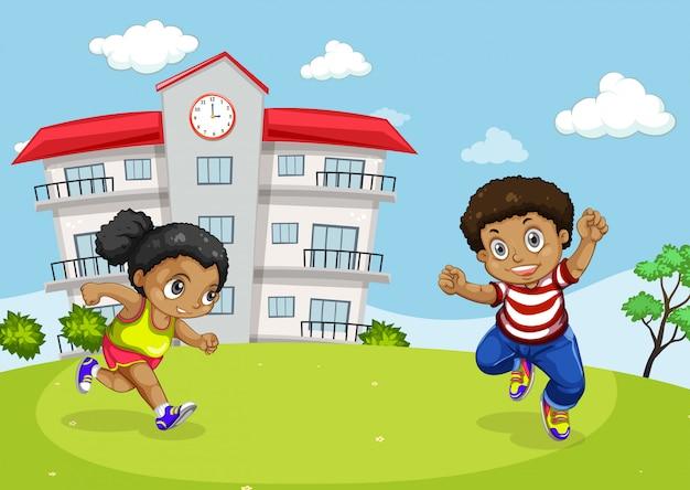 Afrikaanse kinderen voor school Premium Vector
