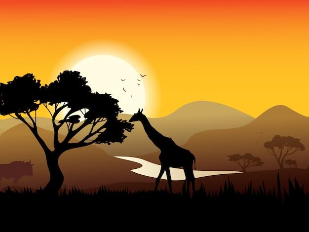 Afrikaanse landschapsaffiche Gratis Vector