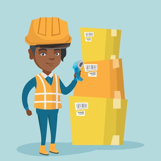 Afrikaanse magazijnmedewerker scannen barcode op doos. Premium Vector