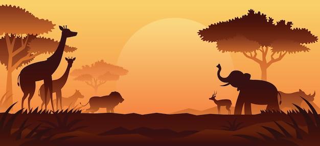 Afrikaanse safari dieren silhouet achtergrond, zonsondergang of zonsopgang Premium Vector