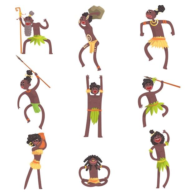 Afrikaanse stamleden, krijgers en burgers in blad lendendoeken set van lachende stripfiguren Premium Vector