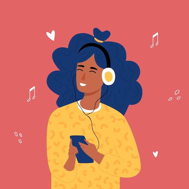 Afrikaanse tiener hipster meisjes luisteren naar muziek met een koptelefoon. trandy handgetekende stijl. . Premium Vector