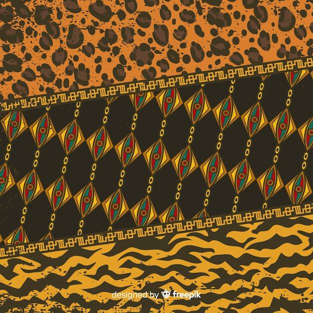 Afrikaanse weefsel en dierenhuid achtergrond Gratis Vector