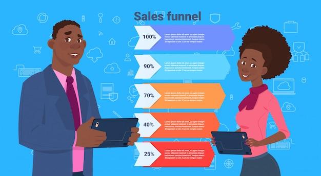 Afrikaanse zaken man vrouw verkoop trechter met stappen stadia zakelijke infographic. aankoop diagram concept Premium Vector
