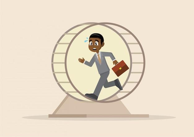 Afrikaanse zakenman die aan een hamsterwiel werkt. Premium Vector