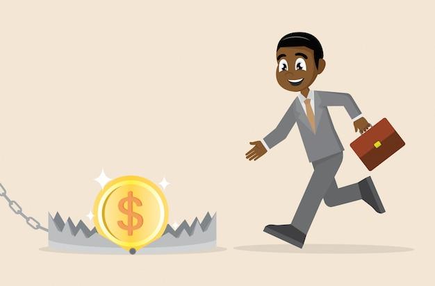 Afrikaanse zakenman die aan geld op beerval loopt. Premium Vector