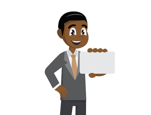 Afrikaanse zakenman die een adreskaartje houdt. Premium Vector
