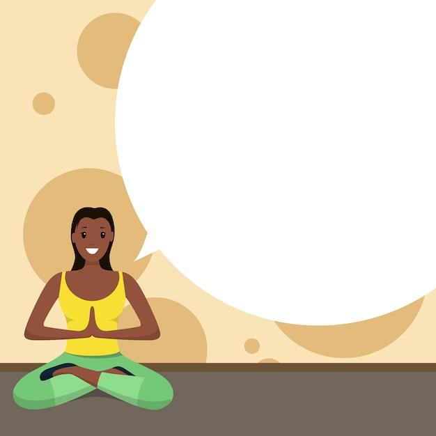 Afro-amerikaanse gelukkige vrouw doet yoga sport thuis Gratis Vector