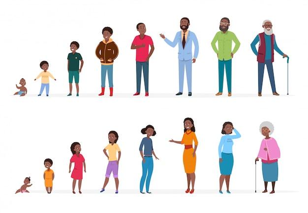 Afro-amerikaanse mensen van verschillende leeftijden Premium Vector