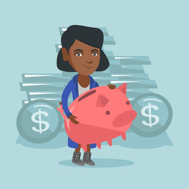 Afro-amerikaanse zakenvrouw bedrijf spaarvarken Premium Vector