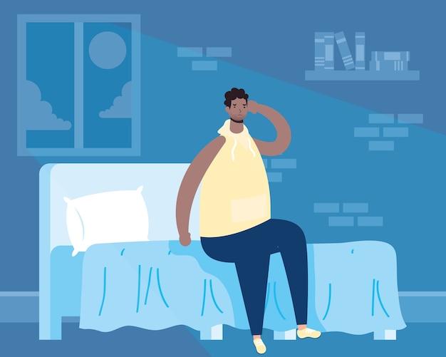 Afro man die lijdt aan slapeloosheid karakter illustratie Premium Vector