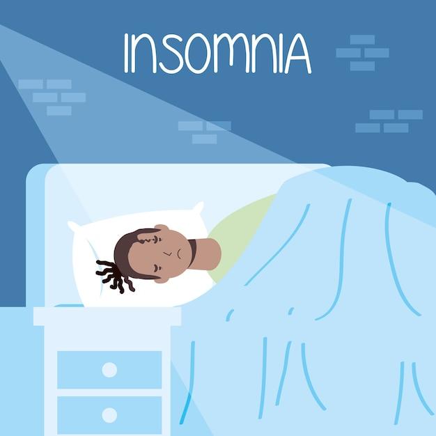 Afro rasta man die lijdt aan slapeloosheid karakter illustratie Premium Vector
