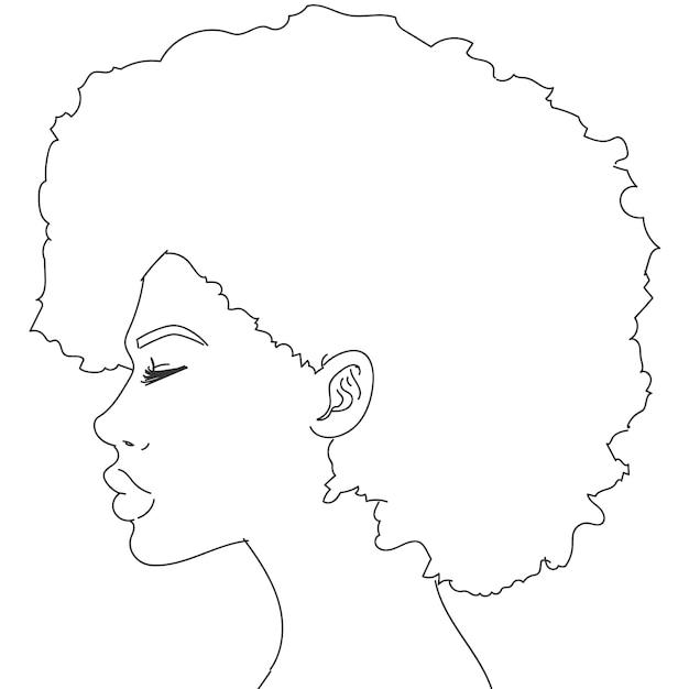 Afrovrouw drawing Gratis Vector