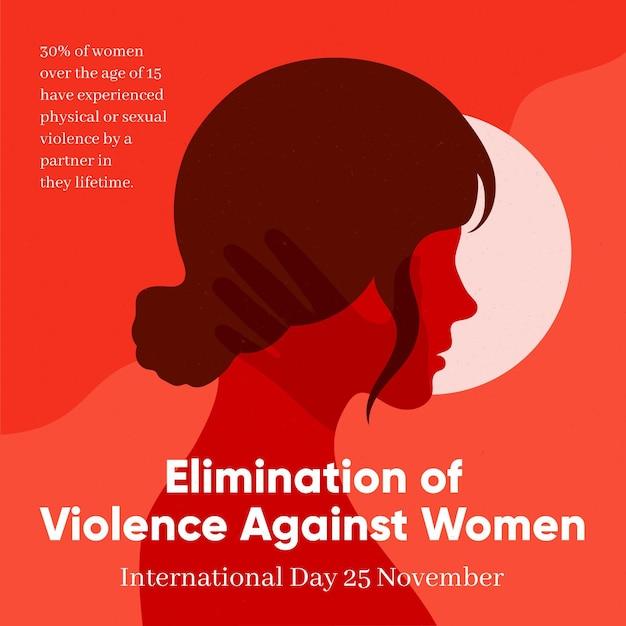 Afschaffing van geweld tegen vrouwen illustratie met zijaanzicht vrouw Gratis Vector