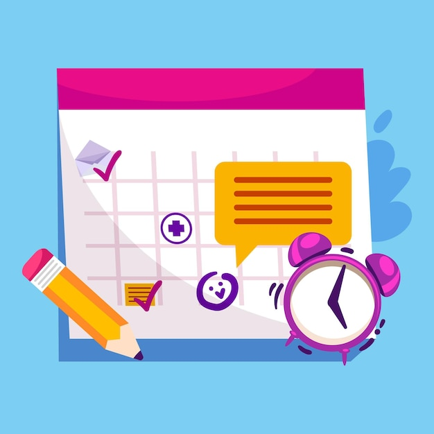 Afspraak boeken met kalender en klok Gratis Vector