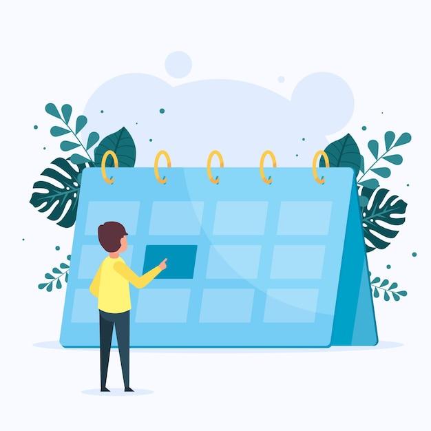 Afspraak boeken met kalender en persoon Gratis Vector