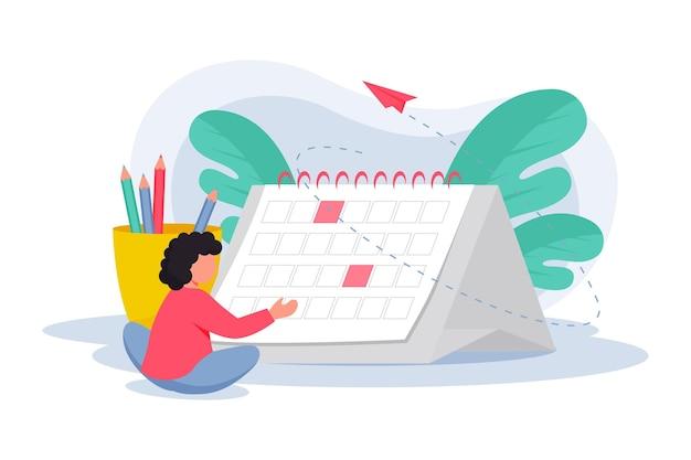 Afspraak boeken met kalender Gratis Vector
