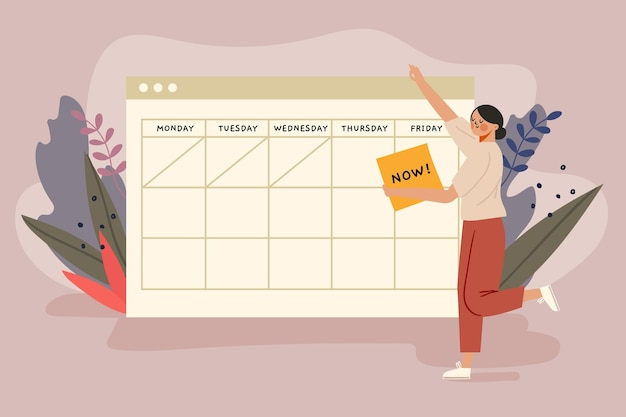 Afspraak boeken met kalenderconcept Gratis Vector