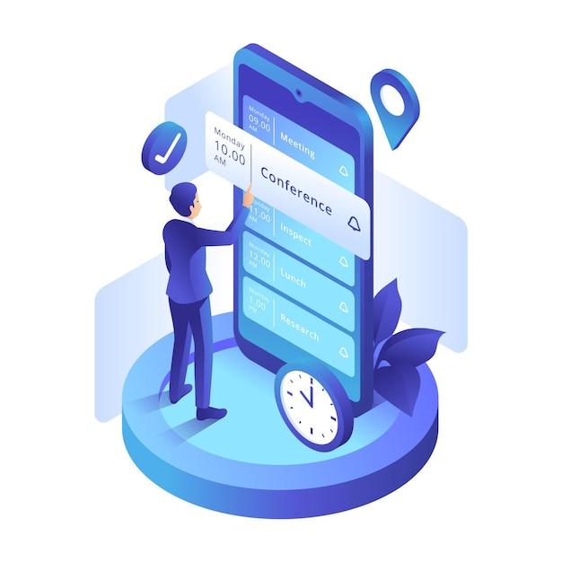 Afspraak boeken met man en smartphone Gratis Vector