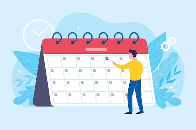 Afspraak boeken met man kijken kalender Gratis Vector