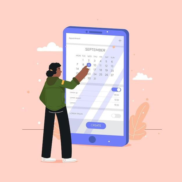 Afspraak boeken met smartphone en vrouw Gratis Vector