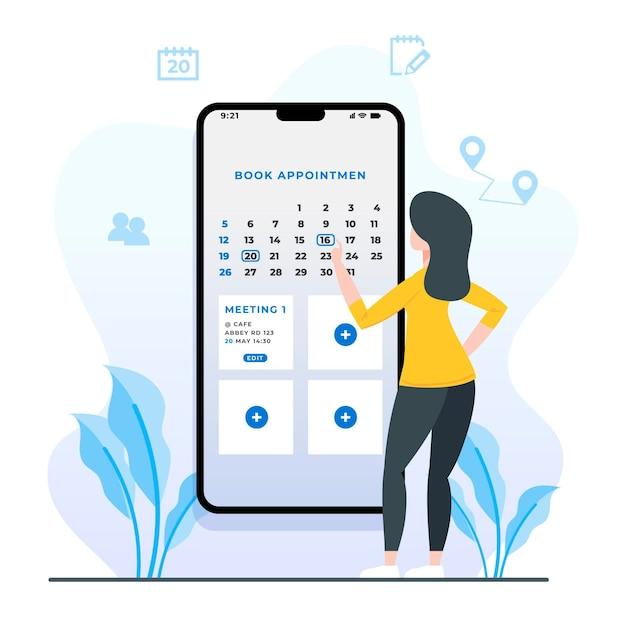 Afspraak boeken met smartphone Gratis Vector