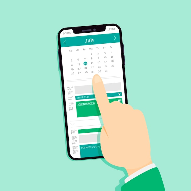 Afspraak boeken op mobiele telefoon kiezen van een datum Gratis Vector