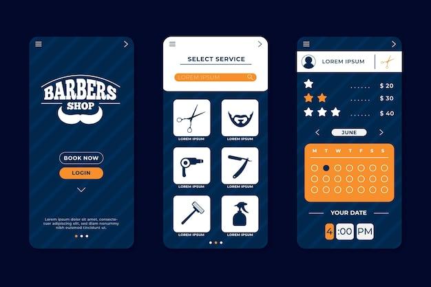 Afspraak boeken voor kapper app Gratis Vector