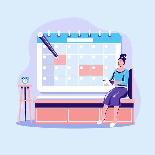Afspraak boeking concept met kalender Gratis Vector
