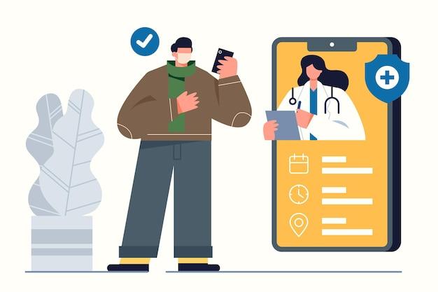 Afspraak boeking concept met smartphone Gratis Vector