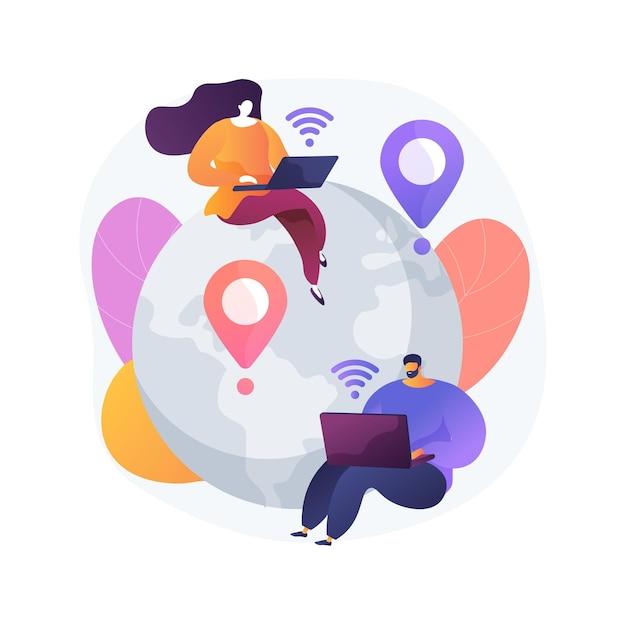 Afstand werken abstract concept vectorillustratie. kantoor op afstand, werken vanuit huis, mogelijkheid op afstand, communicatietechnologie, online teamvergadering, digitale nomade abstracte metafoor. Gratis Vector