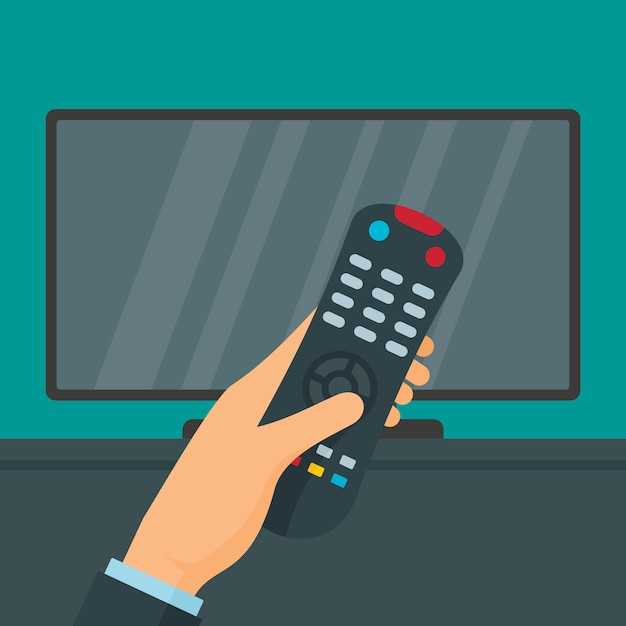 Afstandsbediening en tv, vlakke stijl Premium Vector