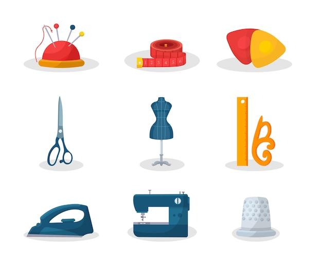 Afstemming van tools platte illustraties set. naaldpen en meetlint, mode-atelier kleermakerij apparatuur, schaar, etalagepop, kleermaker instrumenten pakket, strijkijzer en naaimachine Premium Vector