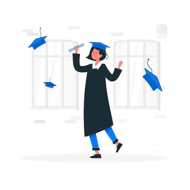 Afstuderen concept illustratie Gratis Vector