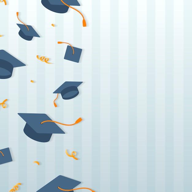 Afstuderen hoeden frame Gratis Vector