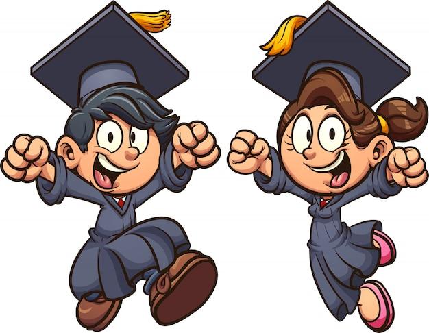 Afstuderen kinderen cartoon afbeelding Premium Vector