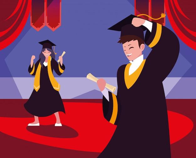 Afstuderen studenten in de viering Premium Vector