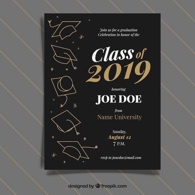Afstuderen uitnodigingssjabloon met gouden stijl Gratis Vector