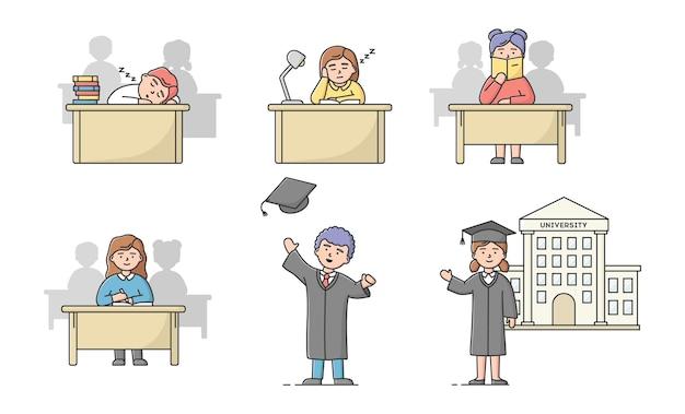 Afstuderen van de middelbare school, universitaire cursussen concept. aantal studenten tieners in verschillende situaties. jongens en meisjes studeren, afgestudeerd aan de universiteit. Premium Vector
